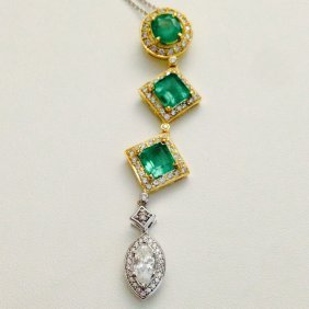 18k Gold High Quality Emerald & Diamond Pendant