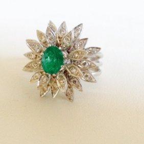 14k White Gold Diamond & 100%natural Colombian Emerald