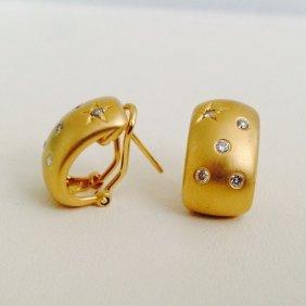 18k Gold Diamond Huggie Earrings