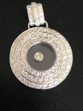 Chopard Style Happy Diamond 18k Gold Diamond Pendant