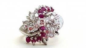 14k White Gold Diamond And Natural Ruby Ring