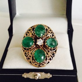 14k Real Vintage Emerald And Diamond Ring