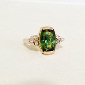 14k Gold Green Tourmaline And Diamond Ring