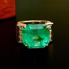 18k Gold And 23 Carat Natural Colombian Emerald Ring