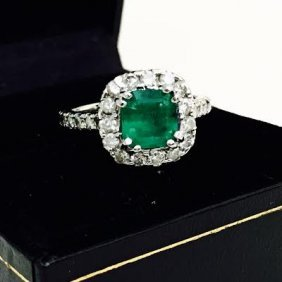 Emerald & Diamond Engagement Ring