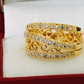 Designer Diamond And Yellow Gold Ring