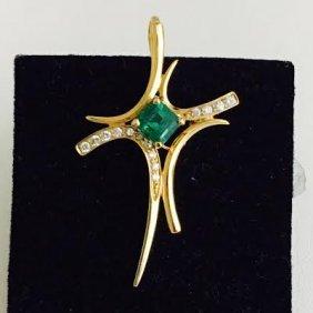 1.6ct Emerald And Diamond Pendant