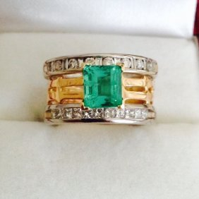 22k Yellow Gold And 14k White Gold With Natural Emerald