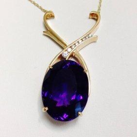 35 Carat Amethyst And Diamond Necklace