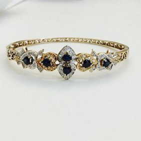 Vintage Diamond And Blue Sapphire Bracelet/bangle
