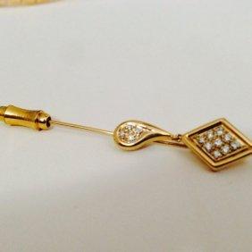 Vintage Collectible 14k Gold Diamond Pin