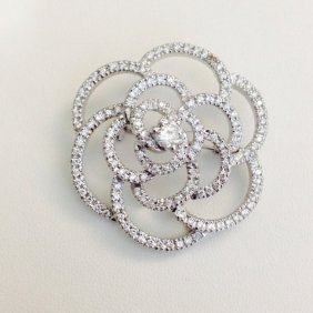 18k White Gold Diamond Pin *made In Italy*