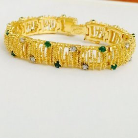 18k Yellow Gold Diamond And Natural Emerald Bracelet