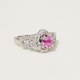 14k White Gold Natural Diamond And Pink Sapphire Ring