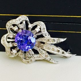 Vintage White Gold Diamond And Tanzanite Pin
