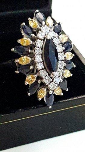 Natural Blue Sapphire, Yellow & White Diamond Ring