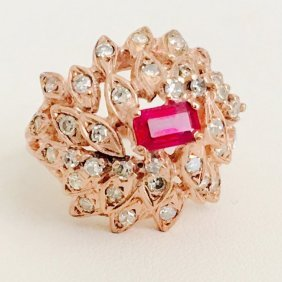 18k Rose Gold Ruby And Diamond Ring