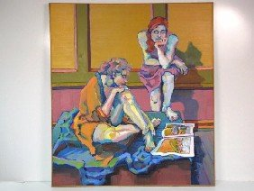 "ELIZABETH SLOTE 72""x 64"" PAINTING ""TWO WOMEN"""
