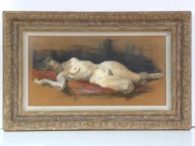 GOUACHE DRAWING STUDY OF A NUDE HEYDENRYK FRAME