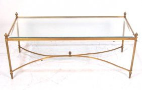 FRENCH STYLE BRASS & GLASS COFFEE TABLE