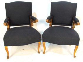 Pair 19th C. FRENCH GILT ARMCHAIRS Mann. FOREST