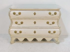DISTRESS PAINTED BOMBE DUTCH COMMODE