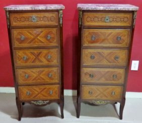Pair MARBLETOP INLAID FRENCH LINGERIE CHESTS STANDS