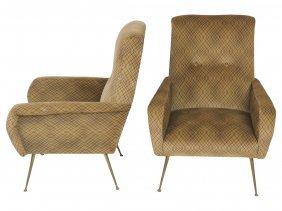Pair Gio Ponti Style Italian Lounge Chairs