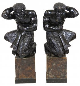 "Pair 37"" Antique Carved Kneeling Blackamoors"