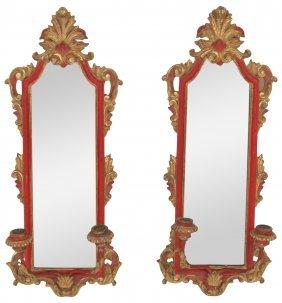 Pair Italian Florentine Gilt Carved Mirrored Sconces
