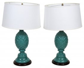 Pair Contemporary Turquoise Pineapple Lamps