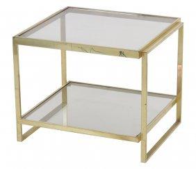 Modern Brass & Smoke Glass Side Table