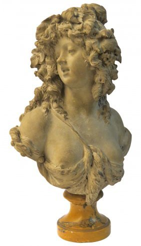 JOSEPH CHARLES MARIN TERRA COTTA BUST of a NYMPH