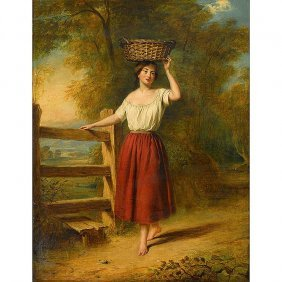 William Frederick Witherington R.a. Painting Girl At