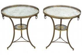 Pair Jansen Eglomise Mirrored Bronze Gueridons