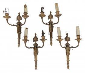 4 Antique Louis Xvi Style Bronze Sconces