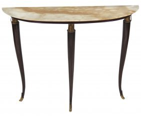 Italian Regency Demilune Marbletop Console Table