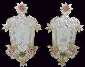 "Pair 35"" Antique Venetian Glass Mirrored Sconces"