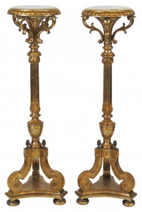Pair Custom French Style Gilt Onyx Top Pedestals