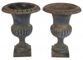 "Pair 30"" Cast Iron Garden Urns"
