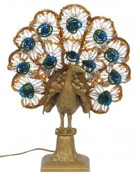 Antique Czech Glass Jeweled Peacock Lamp