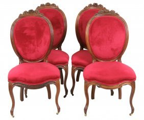 4 Victorian Carved Rosewood Sidechairs