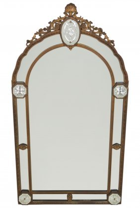 Art Deco French Style Mirror W/ Etched Panels