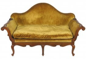 Italian Style Carved Walnut Sofa