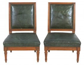Pair Louis Xvi Style Slipper Chairs