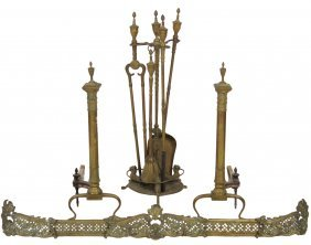 Antique Brass Fireplace Andirons Tools & Fender
