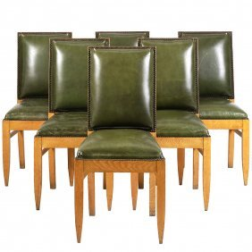 Jean Michel Frank Style Leather Chairs (6)