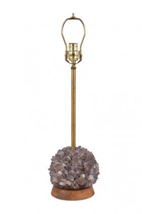 Amethyst Stone Table Lamp In The Style Of Tony