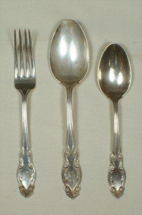 22 Pcs D&H Gothic Sterling Silver Flatware, H Mono,