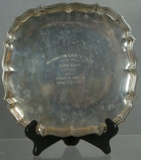 Square Sterling Silver Trophy Tray, Wilm CC, 1942,